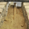 Tonrohre in einem Sandbett verlegt